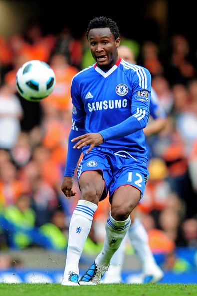John Obi Mikel John Obi Mikel of Chelsea passes the ball during the Barclays Premier League match between Chelsea and Blackpool at Stamford Bridge on September 19, 2010 in London, England.