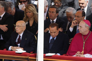 President of Italian Republic Giorgio Napolitano (1st row L), Italian Prime Minister Silvio Berlusconi (1st row R), Elisabetta Tulliani (2nd row L) and Gianfranco Fini (2nd row R) attend John Paul II Beatification Ceremony held by Pope Benedict XVI on May 1, 2011 in Vatican City, Vatican. The ceremony marking the beatification and the last stages of the process to elevate Pope John Paul II to sainthood was led by his successor Pope Benedict XI and attended by tens of thousands of pilgrims alongside heads of state and dignitaries.