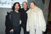 (L-R) James Kaliardos, John Varvatos and Cecilia Dean pose for a picture as they Celebrate The New JohnVarvatos.com on February 5, 2013 in New York City.