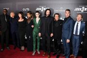 "(L-R) Actors Lance Reddick, Mark Dacascos, Anjelica Huston, Halle Berry, Asia Kate Dillon, Keanu Reeves, Ian McShane, director Chad Stahelski and Robin Lord Taylor attend the ""John Wick: Chapter 3"" world premiere at One Hanson Place on May 9, 2019 in New York City."