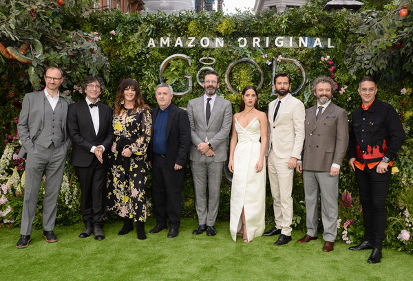 'Good Omens' Amazon Original Global Premiere - Red Carpet Arrivals [good omens amazon original global premiere,social group,people,event,botany,ceremony,tree,team,wedding,lawn,plant,red carpet arrivals,mark gatiss,jon hamm,adria arjona,neil gaiman,josie lawrence,douglas mackinnon,l-r,premiere]