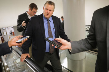 Jon Tester Senators Return To Capitol Hill After 'Skinny Repeal' Of Obamacare Fails