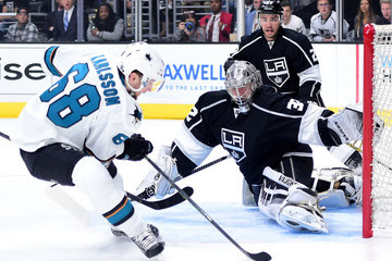 Jonathan Quick Alec Martinez San Jose Sharks v Los Angeles Kings - Game One
