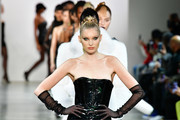 Elsa Hosk leads the runway for Jordache X LaQuan Smith during New York Fashion Week: at Gallery II at Spring Studios on February 08, 2020 in New York City.