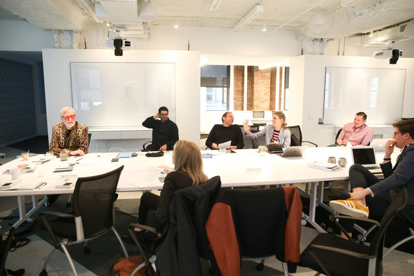 Surface Presents The Jury Deliberations For The Second Annual Surface Travel Awards [surface presents the jury deliberations for the second annual surface travel awards,event,conversation,meeting,conference hall,collaboration,seminar,design,table,room,job,paula scher,gabriela hearst,daniel humm,steve wilson,jose parla,spencer bailey,l-r,surface,jury deliberations for the second annual surface travel awards]