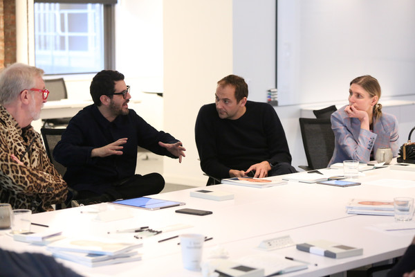 Surface Presents The Jury Deliberations For The Second Annual Surface Travel Awards [surface presents the jury deliberations for the second annual surface travel awards,event,conversation,collaboration,meeting,design,management,job,employment,company,businessperson,daniel humm,gabriela hearst,steve wilson,jose parla,l-r,new york city,surface,jury deliberations for the second annual surface travel awards]
