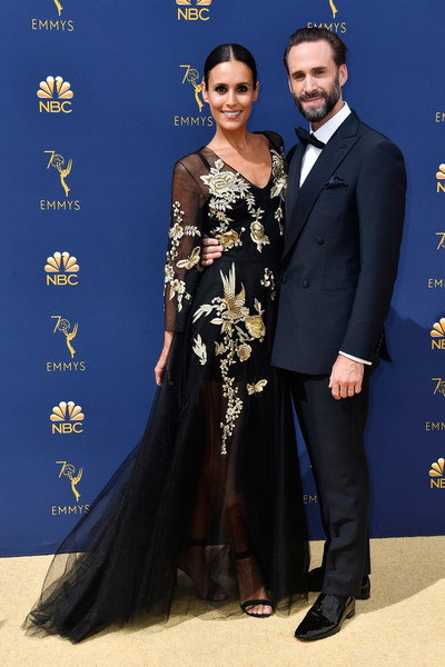 70th Emmy Awards - Arrivals [formal wear,flooring,gown,dress,fashion,fashion model,carpet,suit,red carpet,tuxedo,arrivals,maria dolores dieguez,joseph fiennes,emmy awards,california,los angeles,microsoft theater,l,70th emmy awards]