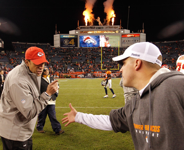 Chiefs coach Todd Haley refuses to parley with McDaniels after a Broncos blowout win. Photo by Justin Edmonds/Getty Images North America