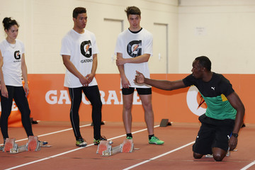 Joshua Hawkins Usain Bolt Attends Track and Field Clinic