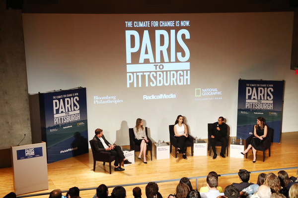 Bloomberg Philanthropies And RadicalMedia Host The Los Angeles Premiere Of 'Paris To Pittsburgh' [event,stage,talent show,design,font,performance,brand,host,jamie margolin,lauren faber oconnor,producer,l-r,los angeles,paris to pittsburgh,radicalmedia,bloomberg philanthropies,premiere]