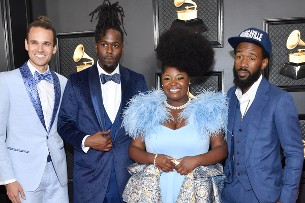 62nd Annual GRAMMY Awards - Arrivals [event,fashion,suit,formal wear,white-collar worker,ceremony,arrivals,allenbeck etienne,norman spence,joshua johnson,l-r,tarriona tank ball,bangas,staples center,tank,annual grammy awards,61st annual grammy awards,tank and the bangas,new orleans,staples center,photography,getty images,stock photography,musical ensemble,grammy award for best new artist]
