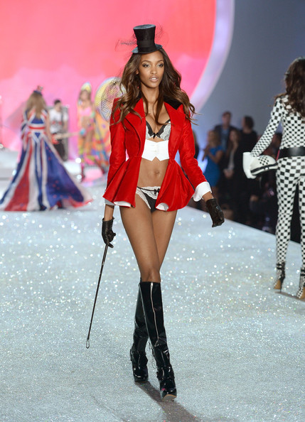 Jourdan Dunn Model Jourdan Dunn walks the runway at the 2013 Victoria's Secret Fashion Show at Lexington Avenue Armory on November 13, 2013 in New York City.