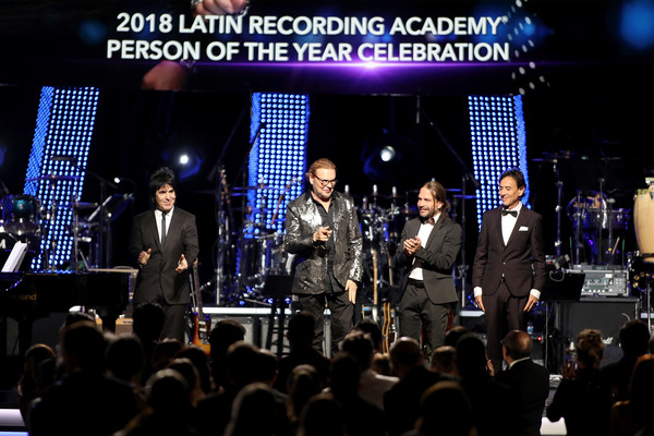 The Latin Recording Academy's 2018 Person Of The Year Gala Honoring Mana - Red Carpet [performance,entertainment,event,concert,stage,crowd,music,performing arts,public event,musical ensemble,mana,honorees,juan calleros,alex gonzalez,sergio vallin,fher olvera,red carpet,latin recording academy,gala,person of the year]