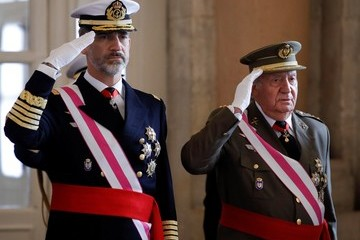 Juan Carlos I Spanish Royals Celebrate New Year's Military Parade 2018