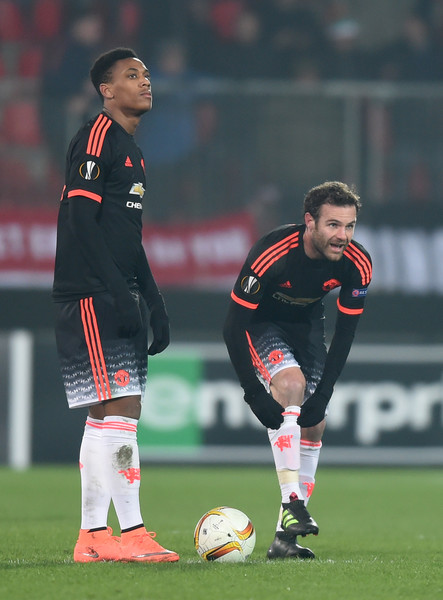 5712ec2ea98 Juan Mata and Anthony Martial Photos»Photostream · Pictures · FC  Midtjylland v Manchester United - UEFA Europa League Round of 32  First Leg