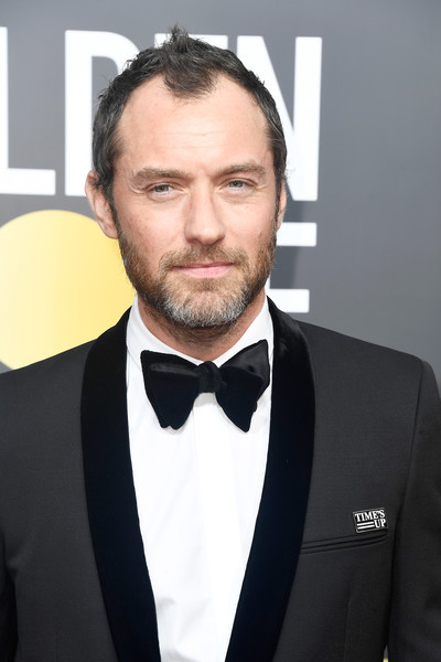 75th Annual Golden Globe Awards - Arrivals [formal wear,suit,facial hair,tuxedo,gentleman,beard,necktie,white collar worker,flooring,arrivals,jude law,beverly hills,california,the beverly hilton hotel,golden globe awards,the 75th annual golden globe awards]