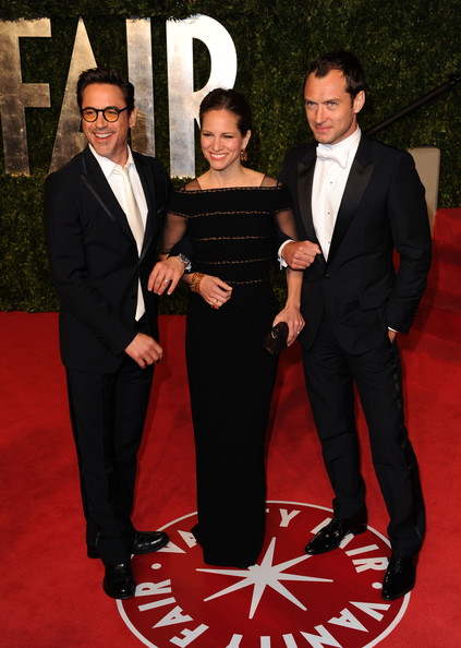 2011 Vanity Fair Oscar Party Hosted By Graydon Carter - Arrivals [vanity fair,oscar party,party,suit,red carpet,carpet,formal wear,tuxedo,flooring,event,premiere,dress,award ceremony,sunset tower,west hollywood,robert downey jr,susan downey,jude law,graydon carter - arrivals,oscar]