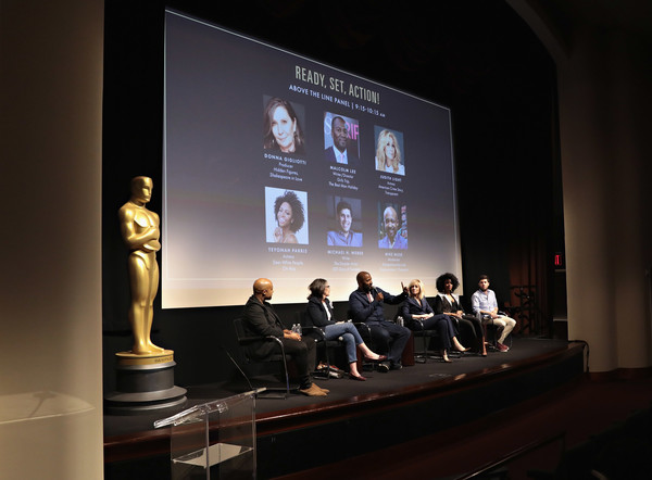 The Academy of Motion Picture Arts & Sciences Presents the Inaugural 2018 Careers in Film Summit: New York [academy of motion picture arts sciences presents the inaugural 2018 careers in film summit,projection screen,event,design,presentation,stage,convention,architecture,technology,display device,performance,mike muse,malcolm lee,judith light,donna gigliotti,teyonah parris,michael h. weber,writer,careers in film summit,new york]