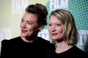 """Mia Wasikowska and Mirrah Foulkes attend the """"Judy & Punch"""" Premiere during the 63rd BFI London Film Festival at the Embankment Gardens Cinema on October 12, 2019 in London, England."""