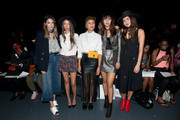 (L-R) Guest, Thania Peck, Taye Hansberry, Natalie Suarez and Dylana Suarez attend the Julianna Bass fashion show during Spring 2016 New York Fashion Week at Pier 59 on September 12, 2015 in New York City.