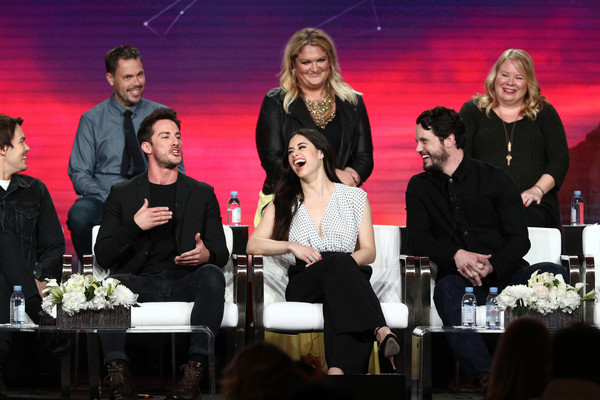 2019 Winter TCA Tour - Day 3 [television show,event,performance,competition,team,award,carina adly mackenzie,christopher hollier,jeanine mason,nathan parsons,julie plec,back l-r,pasadena,winter tca,front l-r]