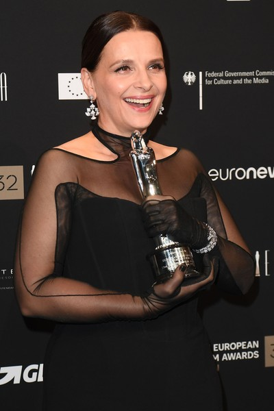 European Film Awards 2019 [dress,muscle,fashion accessory,award,little black dress,style,juliette binoche,european achievement,world,berlin,germany,european film awards,haus der berliner festspiele]