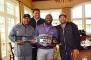 (L-R) Victor Green, Reggie Theus, Maurice Allen and Winky Wright attend the Julius Erving Celebrity Golf Classic at St. David's Golf Club on September 10, 2018 in Wayne, Pennsylvania.  (Photo by Lisa Lake/Getty Images for Julius Erving Golf Classic