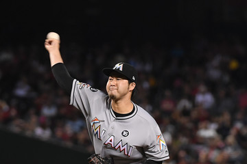 Junichi Tazawa Miami Marlins v Arizona Diamondbacks