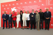 Director of the festival Alberto Barbera, official competition jury members Christoph Waltz, Taika Waititi, Naomi Watts, Malgorzata Szumowska, Trine Dyrholm, Nicole Garcia, president of the jury Guillermo Del Toro, jury members Sylvia Chang, Paolo Genovese and president of the festival Paolo Baratta attend the Jury photocall during the 75th Venice Film Festival at Sala Casino on August 29, 2018 in Venice, Italy.