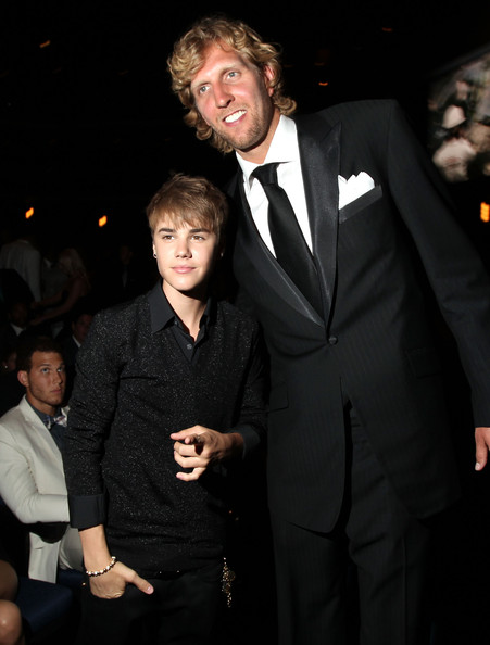 Justin Bieber Singer Justin Bieber and NBA player Dirk Nowitzki attend The 2011 ESPY Awards at Nokia Theatre L.A. Live on July 13, 2011 in Los Angeles, California.