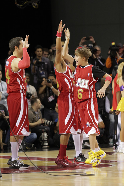 Justin Bieber Justin Bieber plays at the 2011 BBVA NBA All-Star Celebrity Game at the Los Angeles Convention Center on February 18, 2011 in Los Angeles, California.