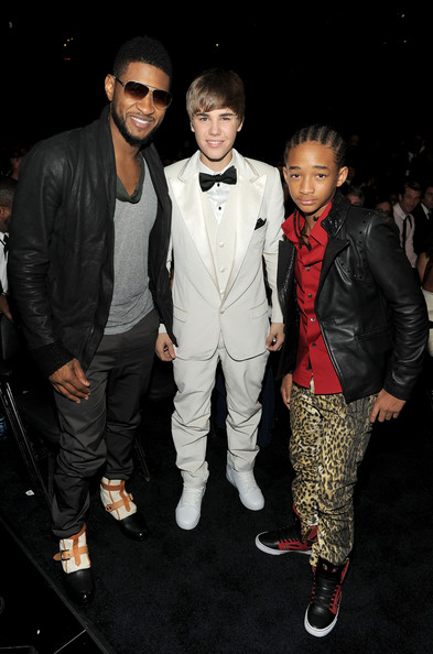 Justin Bieber Singers Usher, Justin Bieber and Jaden Smith attend The 53rd Annual GRAMMY Awards held at Staples Center on February 13, 2011 in Los Angeles, California.