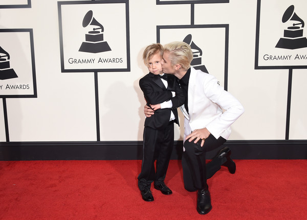 The 58th GRAMMY Awards - Arrivals [red carpet,carpet,flooring,suit,fictional character,premiere,style,tuxedo,arrivals,justin bieber,jaxon bieber,r,grammy awards,california,los angeles,staples center,58th grammy awards]