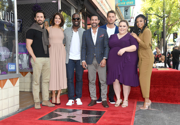 Mandy Moore Honored With Star On The Hollywood Walk Of Fame [mandy moore honored with star on the hollywood walk of fame,red carpet,carpet,red,event,flooring,fashion,premiere,ceremony,leisure,fashion design,mandy moore,milo ventimiglia,jon huertas,chrissy metz,justin hartley,sterling k. brown,l-r,hollywood walk of fame,ceremony]