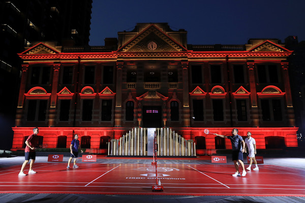 WGC - HSBC Champions - Previews [previews,landmark,red,building,theatre,architecture,heater,stage,performing arts,francesco molinari,justin rose,dustin johnson,l-r,united states,england,shanghai,wgc - hsbc champions,photocall]