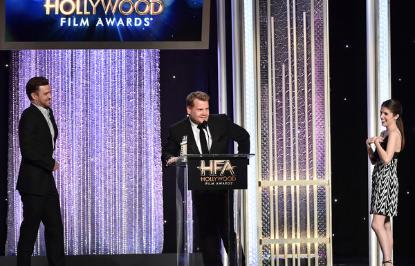 20th Annual Hollywood Film Awards - Show [event,formal wear,award ceremony,performance,talent show,speech,suit,award,justin timberlake,james corden,anna kendrick,recipient,feeling,l-r,hollywood song award,california,hollywood film awards - show,annual hollywood film awards]
