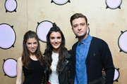 Justin Timberlake and Anna Kendrick pose with Kiss FM presenter Andrea Zara (C) during a visit to Bauer Radio on September 30, 2016 in London, England.