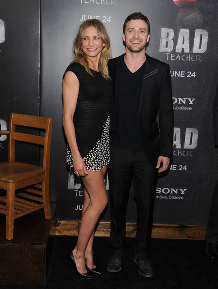 "Justin Timberlake Actress Cameron Diaz and Justin Timberlake attend the premiere of ""Bad Teacher"" at the Ziegfeld Theatre on June 20, 2011 in New York City."