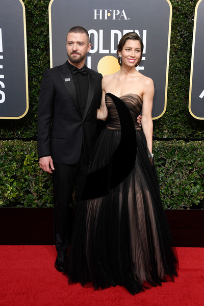 75th Annual Golden Globe Awards - Arrivals [flooring,carpet,formal wear,red carpet,gown,fashion,dress,little black dress,haute couture,suit,arrivals,justin timberlake,jessica biel,california,beverly hills,the beverly hilton hotel,golden globe awards,annual golden globe awards]