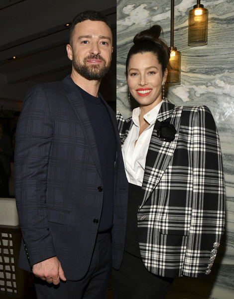 "Premiere Of USA Network's ""The Sinner"" Season 3 - After Party [the sinner,season,tartan,plaid,pattern,suit,fashion,textile,design,formal wear,outerwear,blazer,jessica biel,justin timberlake,portrait,l-r,california,usa network,premiere,party,jessica biel,justin timberlake,the sinner,trolls,musician,celebrity,pop music,actor,alisha wainwright]"