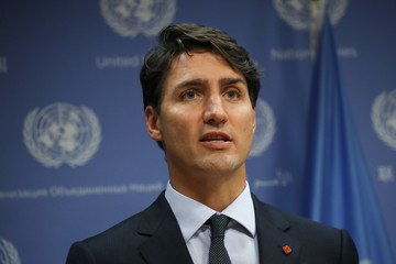 Justin Trudeau Canadian Prime Minister Justin Trudeau Holds Press Briefing at UN