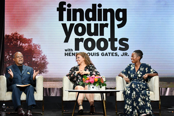 2019 Summer Television Critics Association Press Tour - Day 7 [finding your roots,event,font,performance,brand,henry louis gates,justina machado,sasheer zamata,l-r,the beverly hilton hotel,beverly hills,summer tca press,pbs,segment]