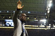 Clarence Seedorf waves to fans inside the stadium prior to the UEFA Champions League Final between Juventus and Real Madrid at National Stadium of Wales on June 3, 2017 in Cardiff, Wales.