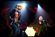 This image was processed using digital filters)  Singers Pharrell Williams (L) and Gwen Stefani perform onstage during KIIS FM's Jingle Ball 2014 powered by LINE at Staples Center on December 5, 2014 in Los Angeles, California.