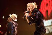 Singers Pharrell Williams (L) and Gwen Stefani perform onstage during KIIS FM's Jingle Ball 2014  powered by LINE at Staples Center on December 5, 2014 in Los Angeles, California.