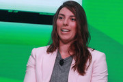 Olympian Hilary Knight speaks on stage during the KPMG Women's Leadership Summit prior to the start of the KPMG Women's PGA Championship at Kemper Lakes Golf Club on June 27, 2018 in Kildeer, Illinois.