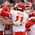 Alex Smith Travis Kelce Photos - Travis Kelce #87 of the Kansas City Chiefs celebrates his touchdown with teammate Alex Smith #11 in the first quarter against the New York Jets on December 03, 2017 at MetLife Stadium in East Rutherford, New Jersey. - Kansas City Chiefs vNew York Jets