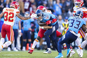 Ryan Tannehill #17 of the Tennessee Titans is tackled in the second half by Bashaud Breeland #21 of the Kansas City Chiefs at Nissan Stadium on November 10, 2019 in Nashville, Tennessee.  The Titans defeated the Chiefs 35-32.