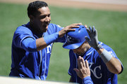 Salvador Perez #13 of the Kansas City Royals congratulates teammate Raul Ibanez #18 on a solo home run against the Minnesota Twins during the eighth inning of the game on July 2, 2014 at Target Field in Minneapolis, Minnesota. The Royals defeated the Twins 4-0.