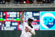 Kevin Garnett of the Minnesota Timberwolves delivers a ceremonial pitch before the home opening game between the Minnesota Twins and the Kansas City Royals on April 13, 2015 at Target Field in Minneapolis, Minnesota.